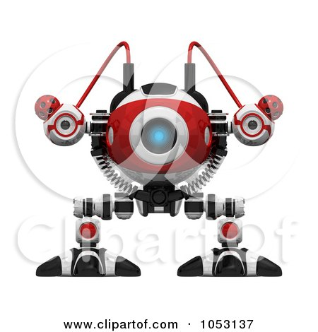 Royalty-Free 3d Clip Art Illustration of a 3d Web Crawler Robot Cam Facing Front by Leo Blanchette
