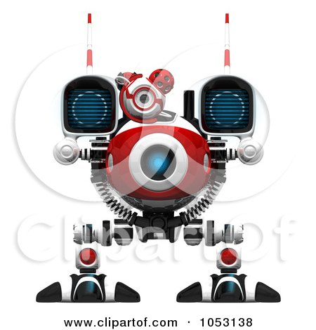 Royalty-Free 3d Clip Art Illustration of a 3d Web Crawler Robot Cam Facing Forward by Leo Blanchette