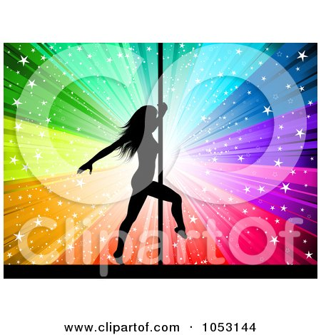 Royalty-Free Vector Clip Art Illustration of a Sexy Silhouetted Pole Dancer Against A Starry Rainbow Burst by KJ Pargeter