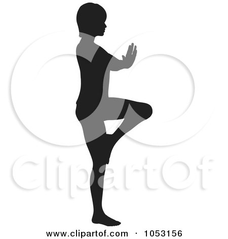Royalty-Free Vector Clip Art Illustration of a Black Silhouetted Yoga Pose Woman - 3 by KJ Pargeter