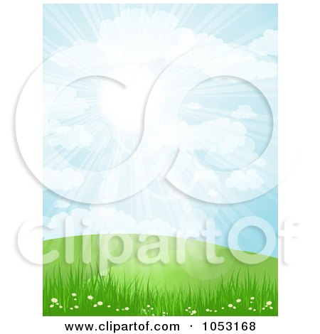 Royalty-Free Vector Clip Art Illustration of The Sun Shining Down Over Spring Hills Grass And Flowers by KJ Pargeter