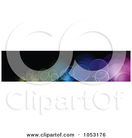 Royalty-Free Vector Clip Art Illustration of a Black Website Banner With Colorful Bokeh Lights by KJ Pargeter