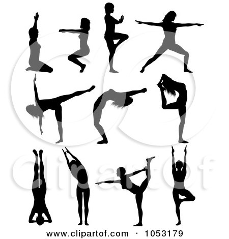 Royalty-Free Vector Clip Art Illustration of a Digital Collage Of Black Silhouetted Yoga Pose Women by KJ Pargeter