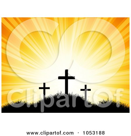 Royalty-Free Vector Clip Art Illustration of an Orange Sky Shining Behind Silhouetted Easter Crosses by KJ Pargeter