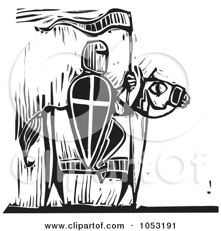 Royalty-Free Vector Clipart Illustration of a Black And White Woodcut Styled Knight On Horseback by xunantunich