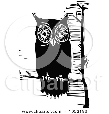 Royalty-Free Vector Clipart Illustration of a Black And White Woodcut Styled Perched Owl by xunantunich
