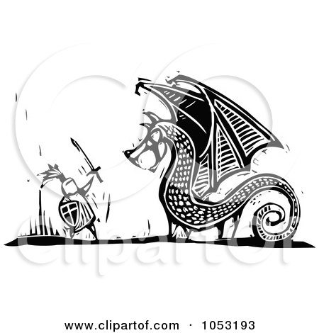 Royalty-Free Vector Clipart Illustration of a Black And White Woodcut Styled Knight Fighting A Dragon by xunantunich