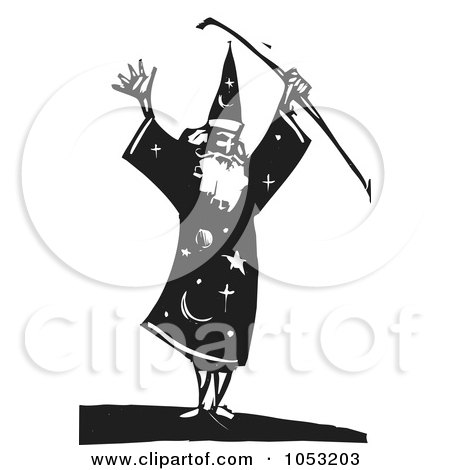 Royalty-Free Vector Clipart Illustration of a Black And White Woodcut Styled Wizard by xunantunich