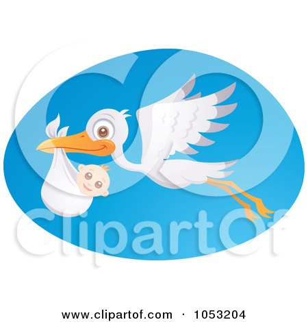 Royalty-Free Vector Clip Art Illustration of a Stork In Flight With A Baby Over A Blue Oval by John Schwegel