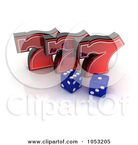 Royalty-Free 3d Clipart Illustration of Two 3d Blue Dice And Red Lucky Sevens 777 by stockillustrations