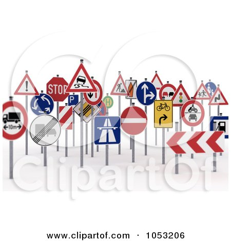 Royalty-Free 3d Clipart Illustration of a Crowd Of 3d Traffic Signs by stockillustrations