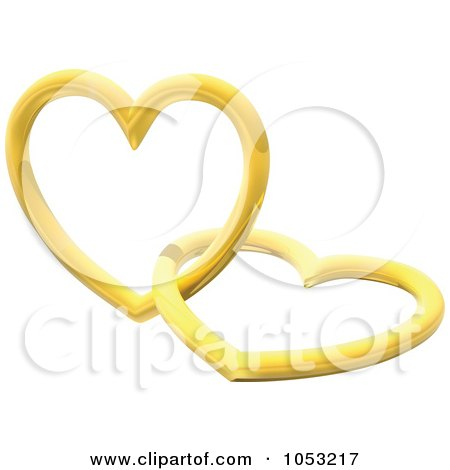 Royalty-Free 3d Vector Clip Art Illustration of 3d Golden Hearts by dero