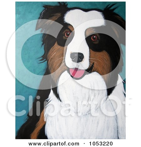 Royalty-Free Clip Art Illustration of a Painted Australian Shepherd or Sheepdog Portrait by Maria Bell