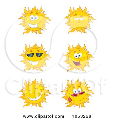 Royalty-Free Vector Clip Art Illustration of a Digital Collage Of Happy Sun Faces by Hit Toon
