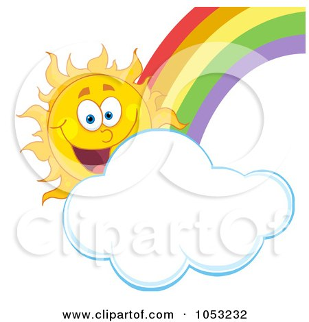 Royalty-Free Vector Clip Art Illustration of a Happy Sun With A Cloud And Rainbow by Hit Toon