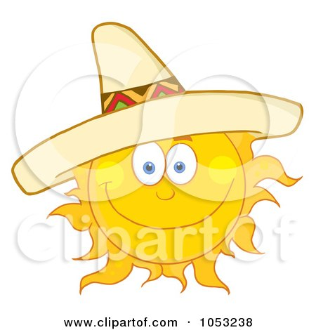 6a1276943a5 Royalty-Free Vector Clip Art Illustration of a Happy Sun Wearing A Sombrero  by Hit