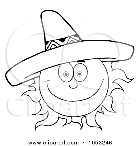 e88d1e0f695 Royalty-Free Vector Clip Art Illustration of an Outline Of A Happy Sun  Wearing A