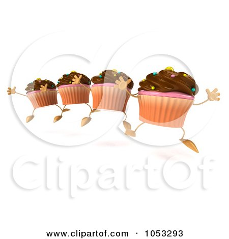 ... Four 3d Chocolate Frosted Cupcakes Jumping In Line by Julos #1053293