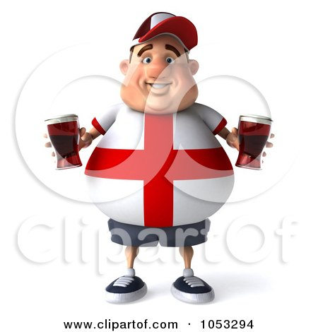 Royalty-Free 3d Clip Art Illustration of a 3d Fat English Man Facing Front And Holding Beer by Julos