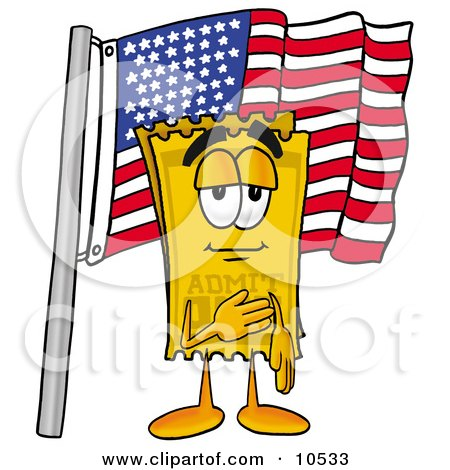 Clipart Picture of a Yellow Admission Ticket Mascot Cartoon Character Pledging Allegiance to an American Flag by Toons4Biz
