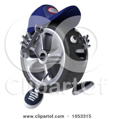 Royalty-Free 3d Clip Art Illustration of a 3d Tire Mechanic Character Facing Right And Jumping by Julos