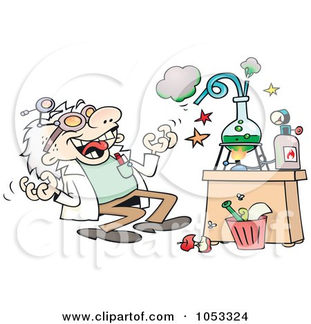 Royalty-Free Vector Clip Art Illustration of a Crazy Scientist Conducting An Experiment by gnurf