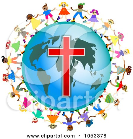 Royalty-Free Clip Art Illustration of a Christian Kids Holding Hands Around A Globe With A Cross by Prawny