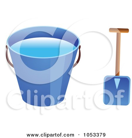 Royalty-Free Vector Clip Art Illustration of a Shovel And Blue Beach Bucket With Water by Prawny