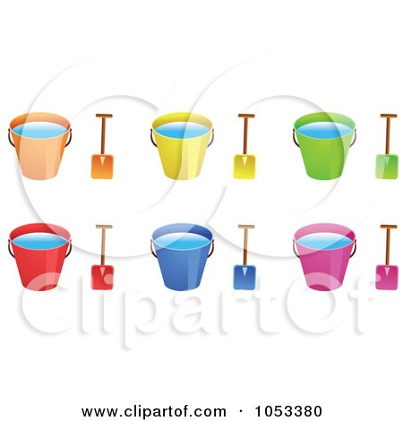 Royalty-Free Vector Clip Art Illustration of a Digital Collage Of Shovels And Beach Buckets With Water by Prawny