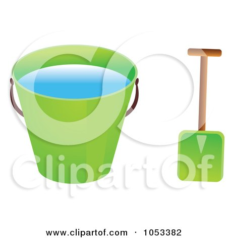 Royalty-Free Vector Clip Art Illustration of a Shovel And Green Beach Bucket With Water by Prawny