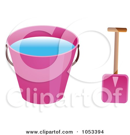Royalty-Free Vector Clip Art Illustration of a Shovel And Pink Beach Bucket With Water by Prawny