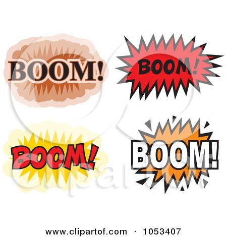 Royalty-Free Vector Clip Art Illustration of a Digital Collage Of Boom Comic Bursts by Prawny
