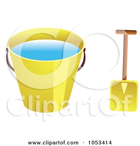 Royalty-Free Vector Clip Art Illustration of a Shovel And Yellow Beach Bucket With Water by Prawny