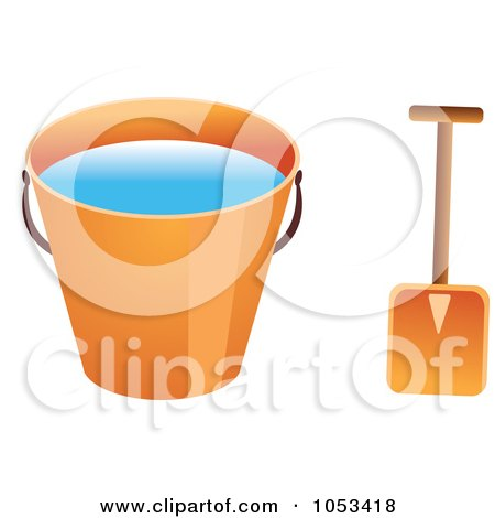 Royalty-Free Vector Clip Art Illustration of a Shovel And Orange Beach Bucket With Water by Prawny