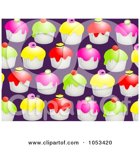 Royalty-Free Clip Art Illustration of a Background Pattern Of Cupcakes by Prawny