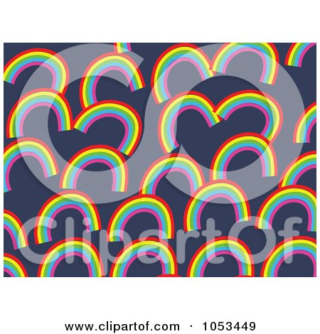 Royalty-Free Clip Art Illustration of a Background Pattern Of Rainbows by Prawny