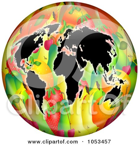 Royalty-Free Clip Art Illustration of Continents On A Fruit Globe by Prawny