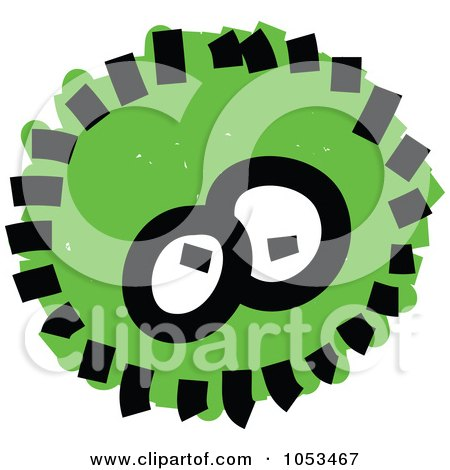 Royalty-Free Vector Clip Art Illustration of a Fluffy Green Germ by Prawny