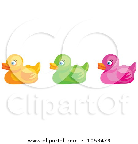 Royalty-Free Vector Clip Art Illustration of a Digital Collage Of Rubber Ducks by Prawny