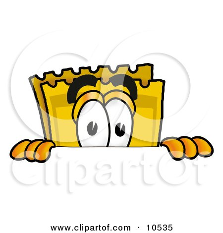 Clipart Picture of a Yellow Admission Ticket Mascot Cartoon Character Peeking Over a Surface by Toons4Biz