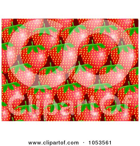 Royalty-Free Clip Art Illustration of a Background Pattern Of Strawberries by Prawny