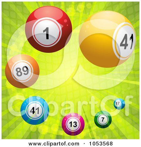 Royalty-Free 3d Vector Clip Art Illustration of a Background Of Colorful 3d Lottery Balls Over Green Rays by elaineitalia