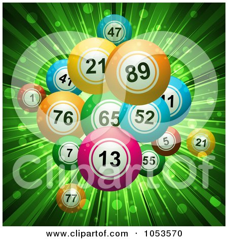 Royalty-Free 3d Vector Clip Art Illustration of a Background Of 3d Bingo Or Lottery Balls Over Green Rays by elaineitalia