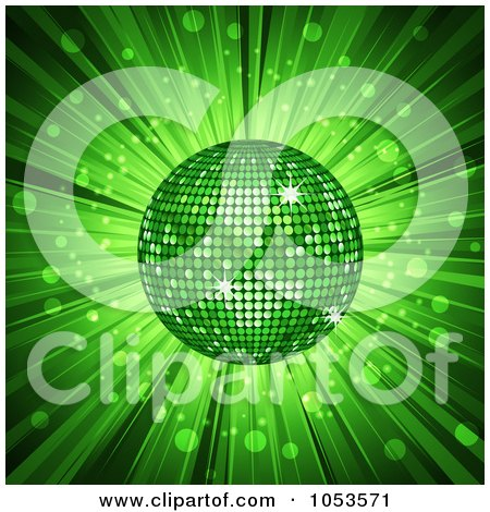 Royalty-Free Vector Clip Art Illustration of a 3d Green Disco Ball And Ray Background by elaineitalia