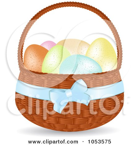 Royalty-Free Vector Clip Art Illustration of Pastel Eggs In A Basket by elaineitalia