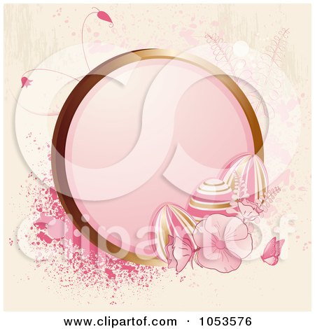 Royalty-Free Vector Clip Art Illustration of a Grungy Pink Easter Background Of Flowers, Butterflies, Splatters, Eggs And A Golden Frame by elaineitalia