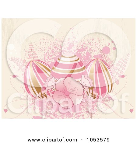 Grungy Pink Easter Background Of Flowers, Splatters And Eggs Posters, Art Prints