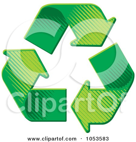 Royalty-Free Vector Clip Art Illustration of Green Recycle Arrows In Pyramid Formation by Any Vector
