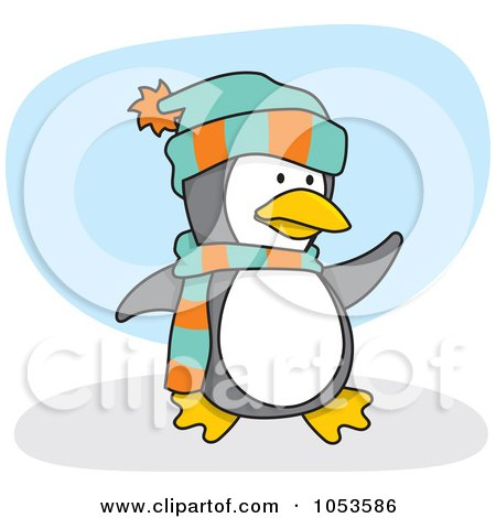 Royalty-Free Vector Clip Art Illustration of a Cartoon Penguin Wearing A Scarf And Hat by Any Vector