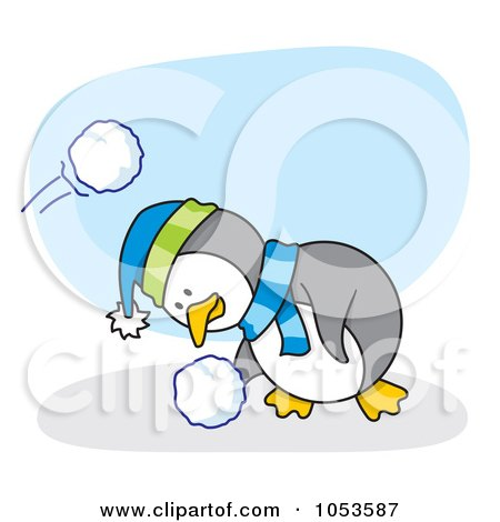 Royalty-Free Vector Clip Art Illustration of a Cartoon Penguin Ducking And Grabbing A Snow Ball by Any Vector